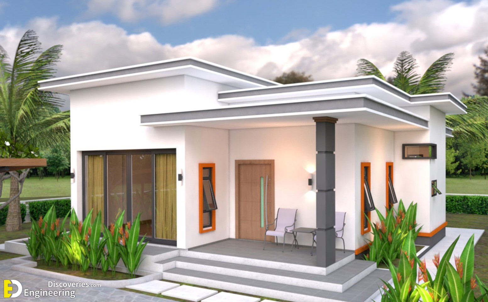 Modern House Plans 10.7×10.5 With 2 Bedrooms Flat Roof ...
