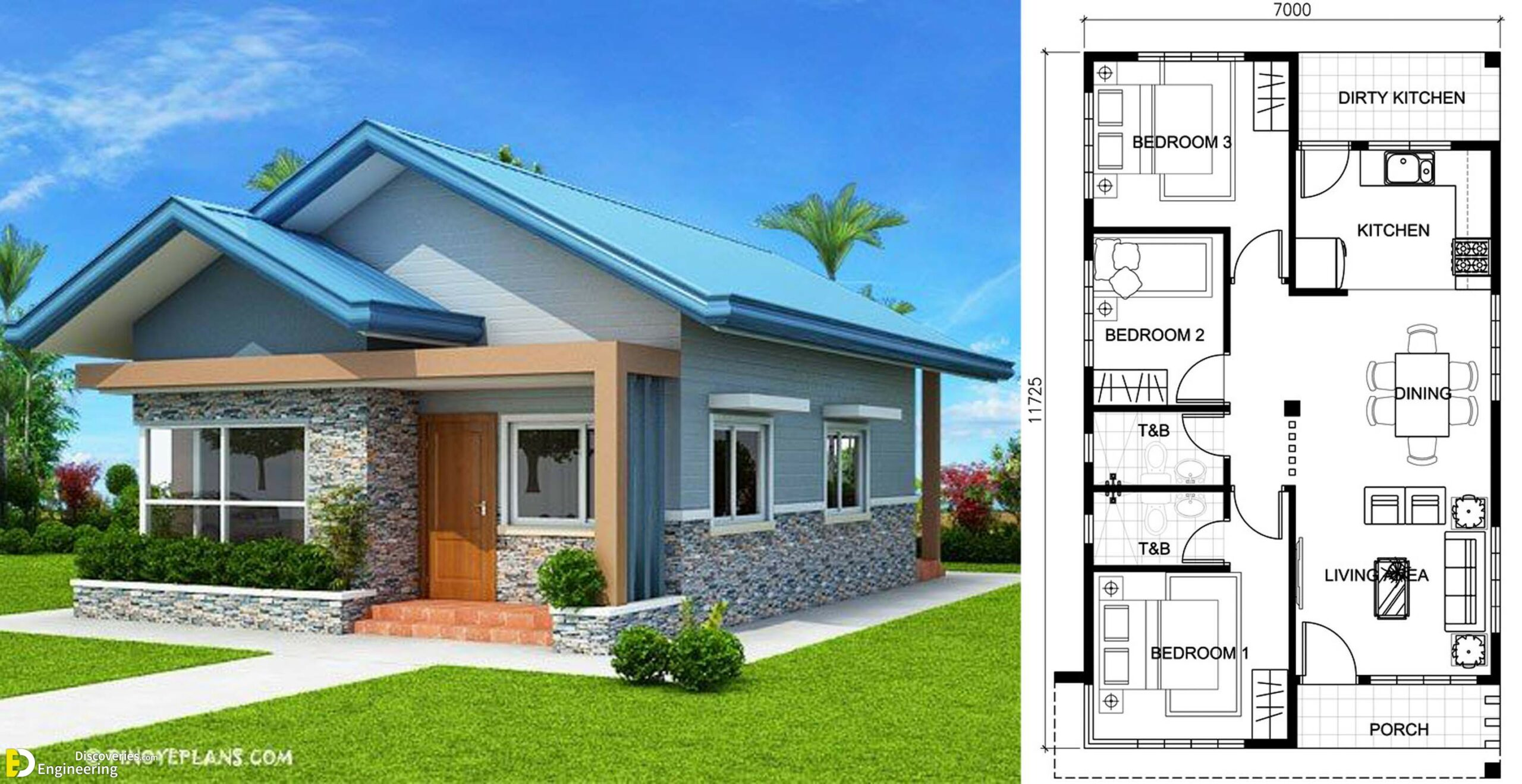 Three Bedroom Bungalow House Plans Engineering Discoveries