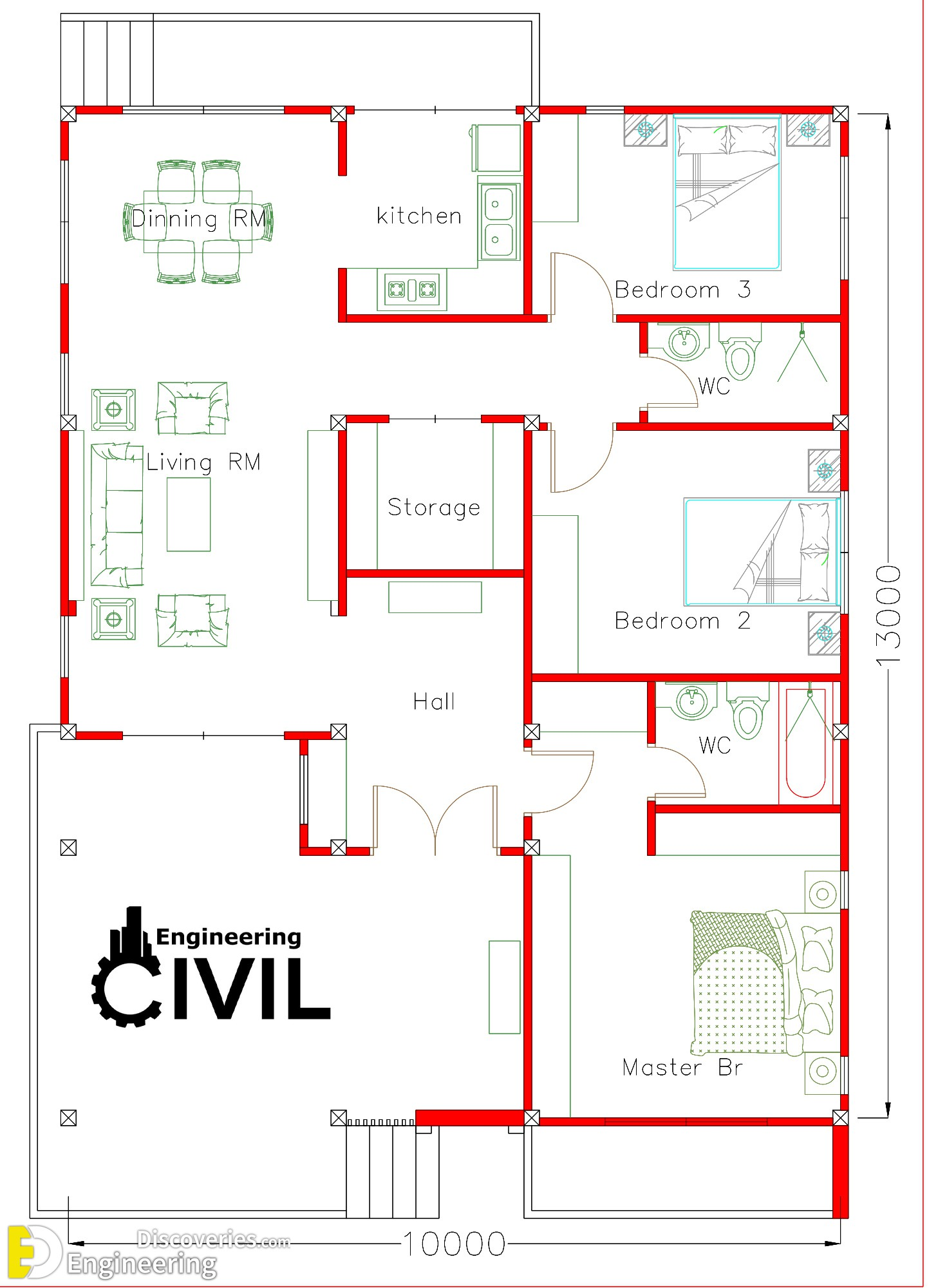 House Plans 10x13m With 3 Bedrooms Engineering Discoveries