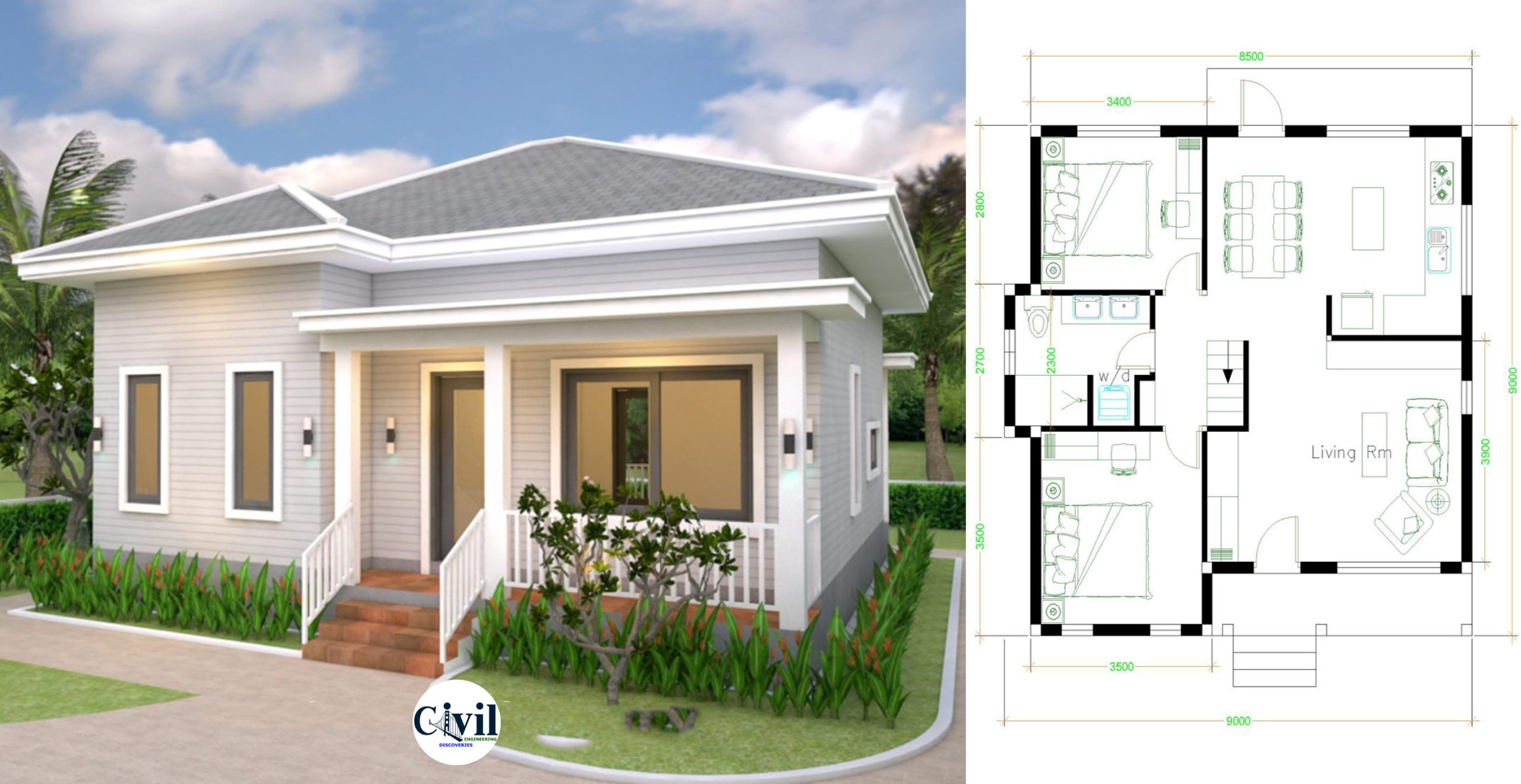 House Plans 9 9 With 2 Bedrooms Hip Roof Engineering Discoveries